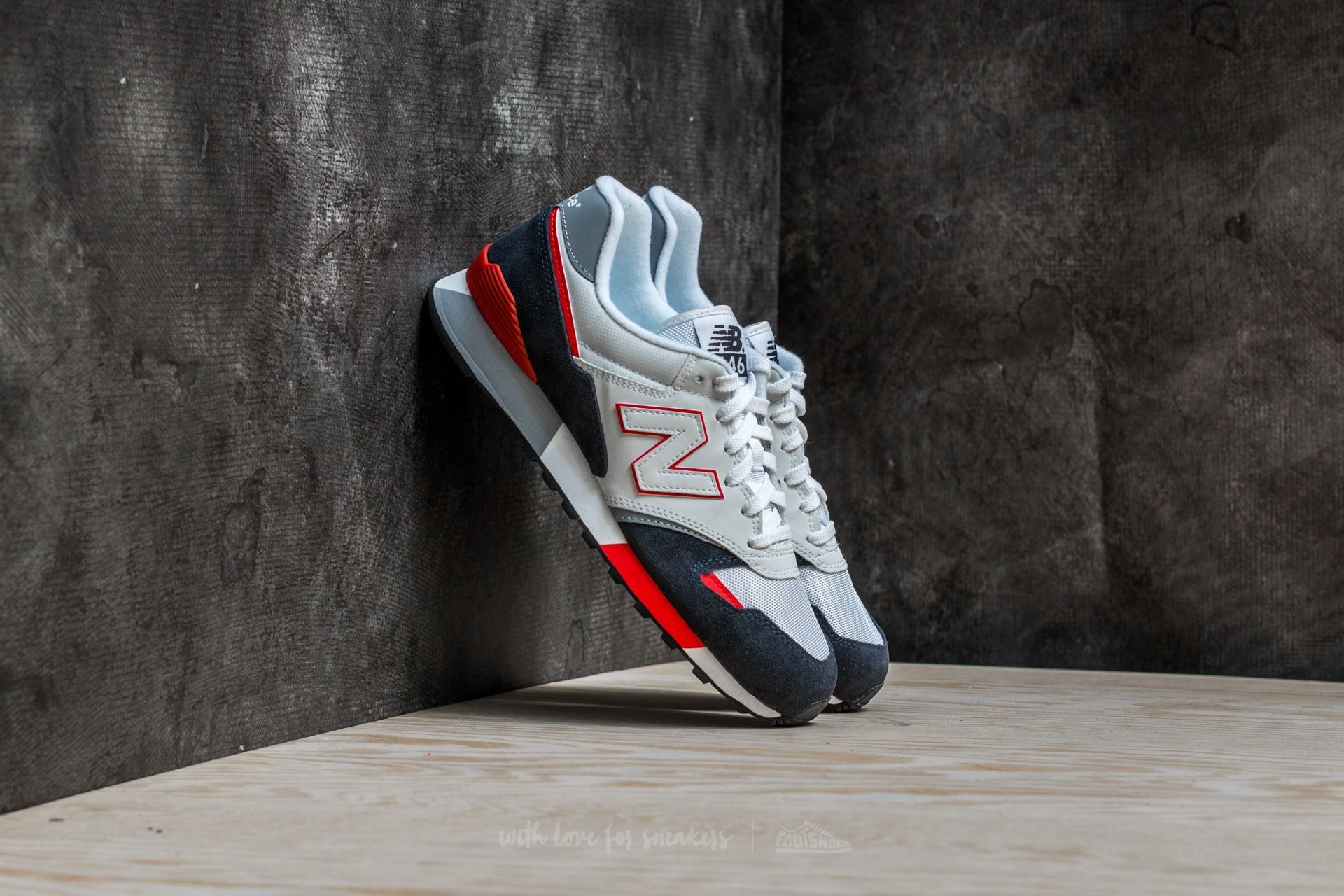 New Balance 446 White/ Navy/ Red