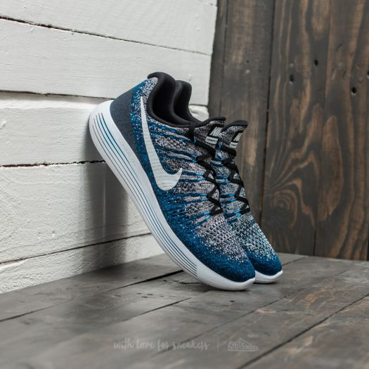 ficción Chapoteo oscuro  Men's shoes Nike Lunarepic Low Flyknit 2 Black/ White-Photo Blue
