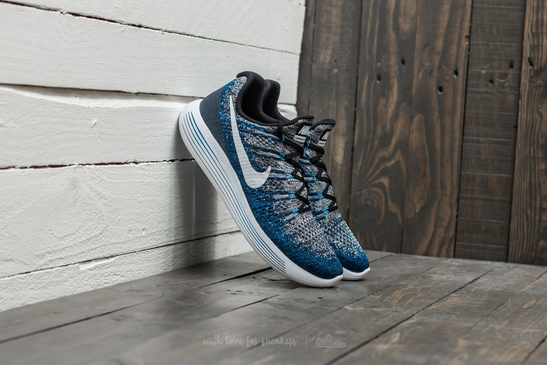 Culpable espejo de puerta Usando una computadora  Men's shoes Nike Lunarepic Low Flyknit 2 Black/ White-Photo Blue   Footshop