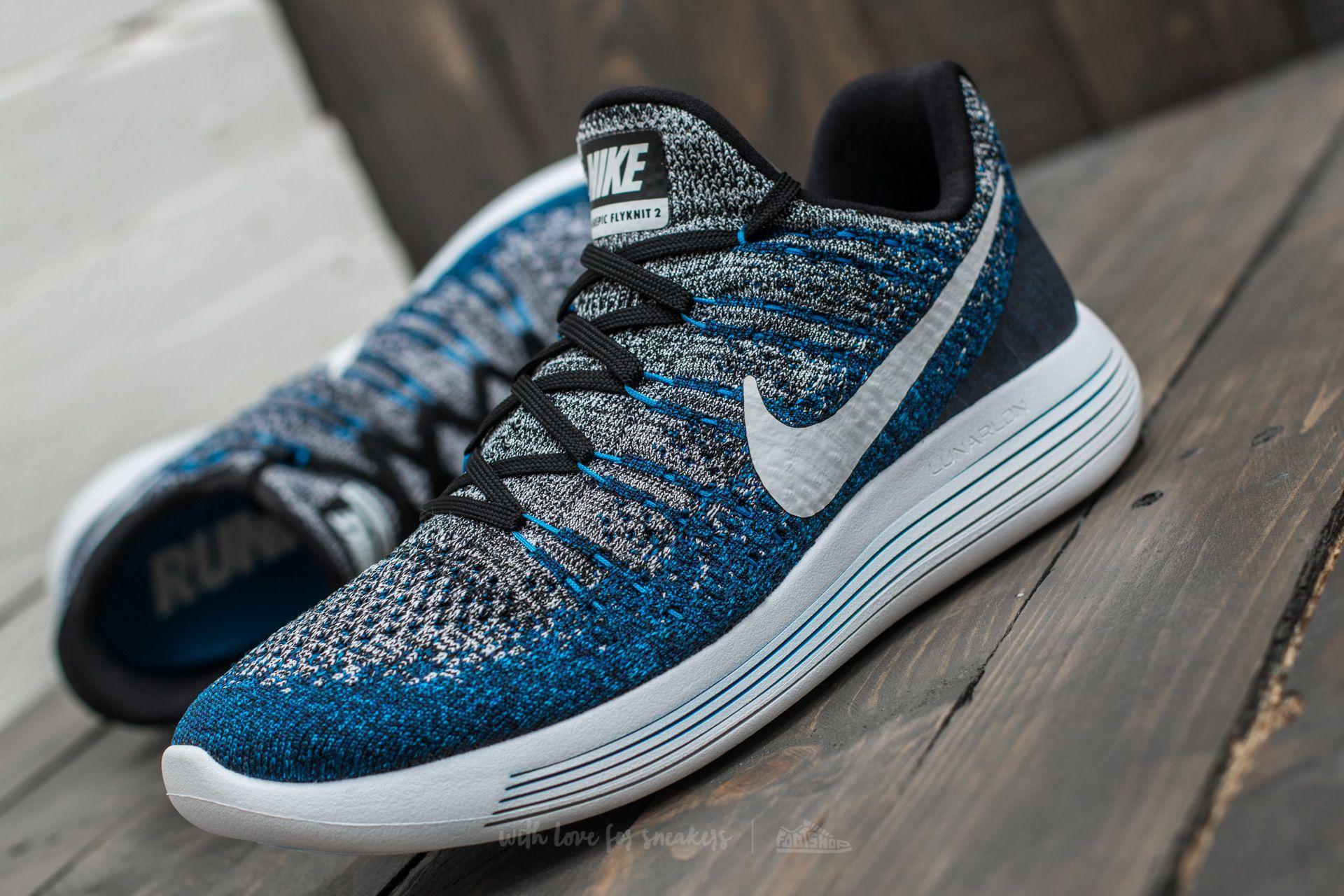 Nike Lunarepic Low Flyknit 2 Black White Photo Blue | Footshop