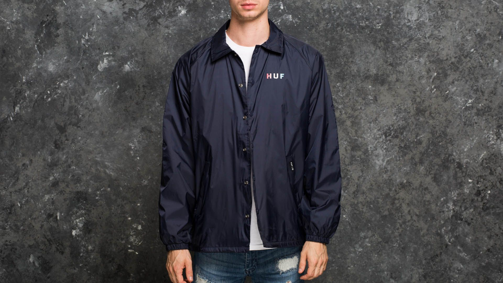 7a9389a18272 HUF Apparel Gradient OG Coaches Jacket Navy