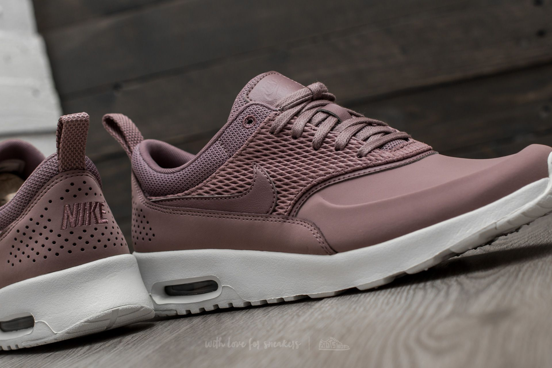 Women's Gray Wmns Air Max Thea Premium Leather Taupe Grey Taupe Grey sail