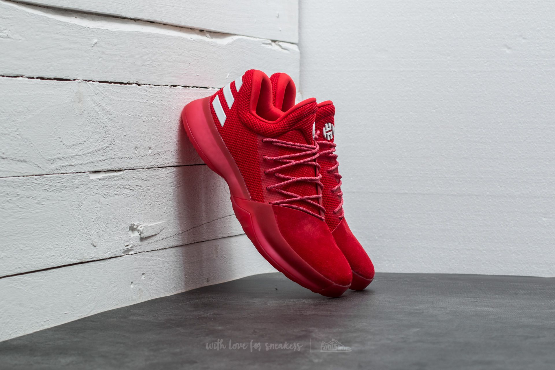 0e8f241223ef37 adidas Harden Vol. 1 Scarlet   Light Scarlet   Running White