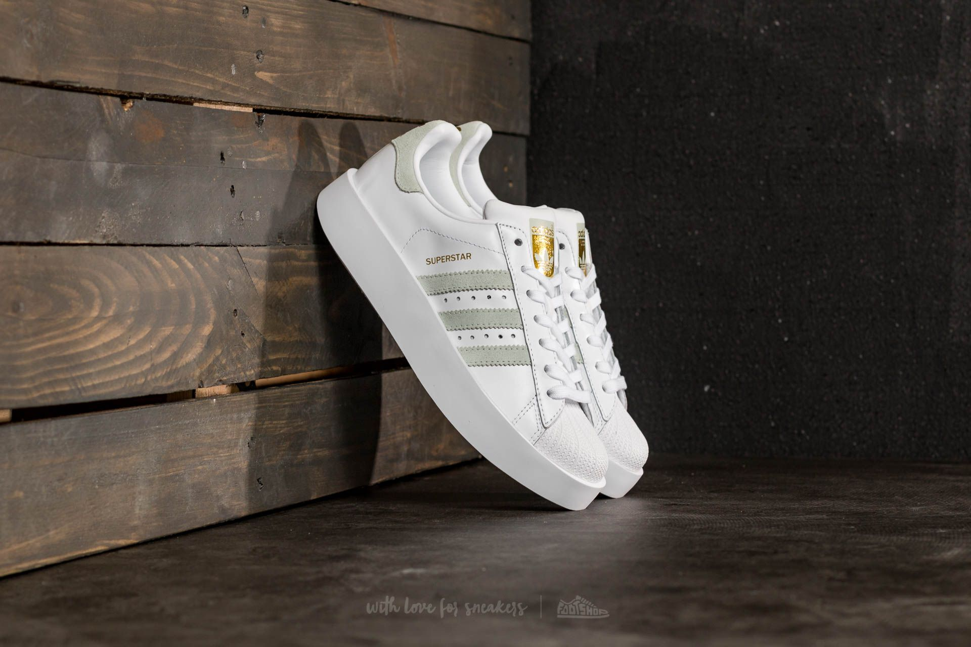 5a15abb954 adidas Superstar Bold W Ftw White  Linen Green  Gold Metallic