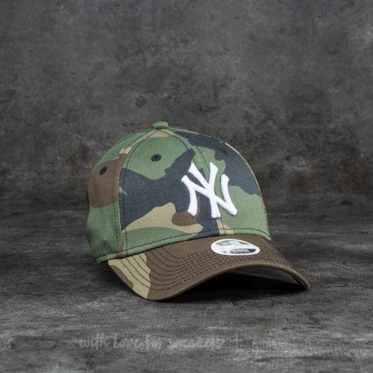 New Era 9Forty Women League Essential New York Yankees Cap Woodland Camo   White  a1793bd4ac6