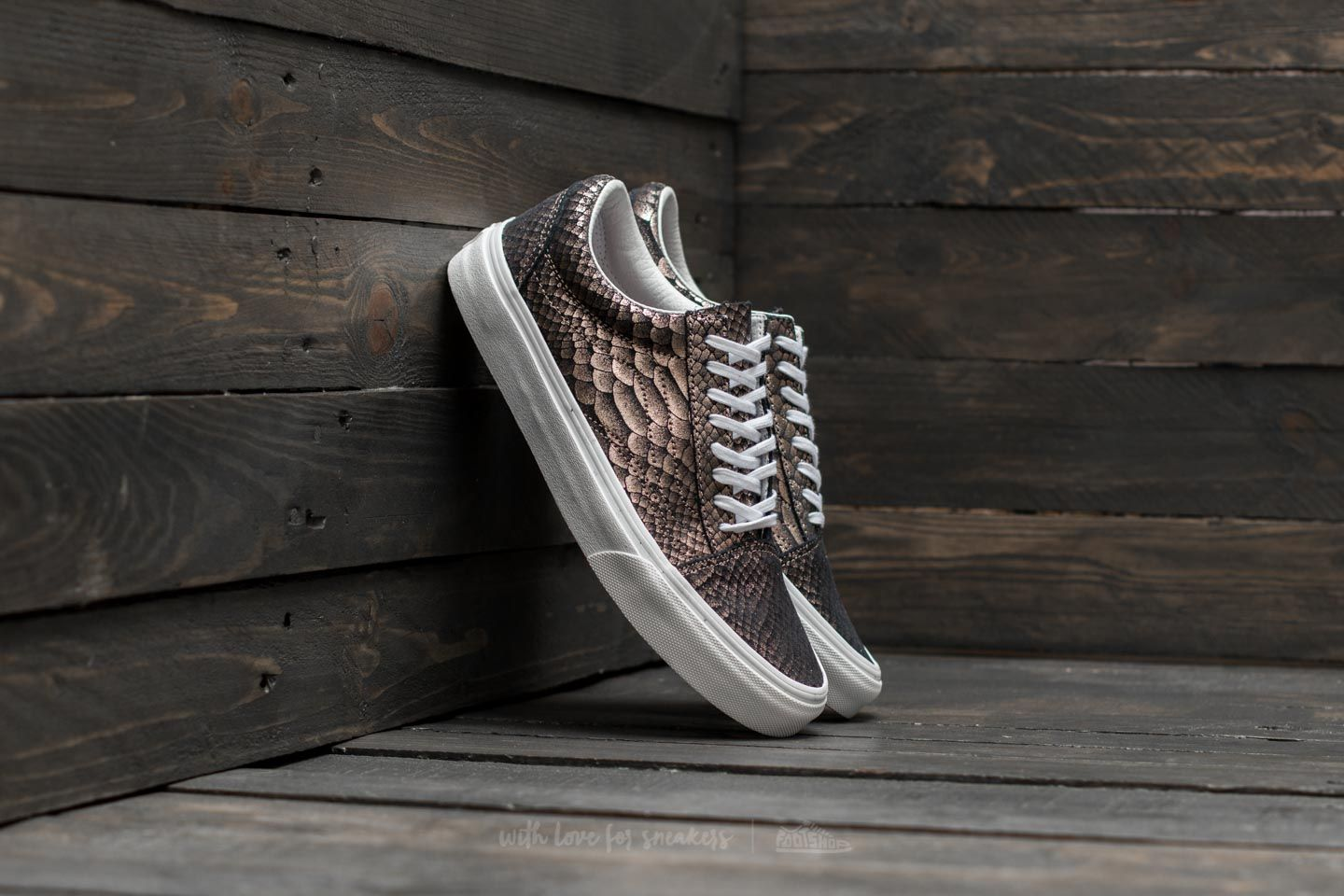849d46edd71 Vans Old Skool (Metallic Snake) Rose Gold  True White