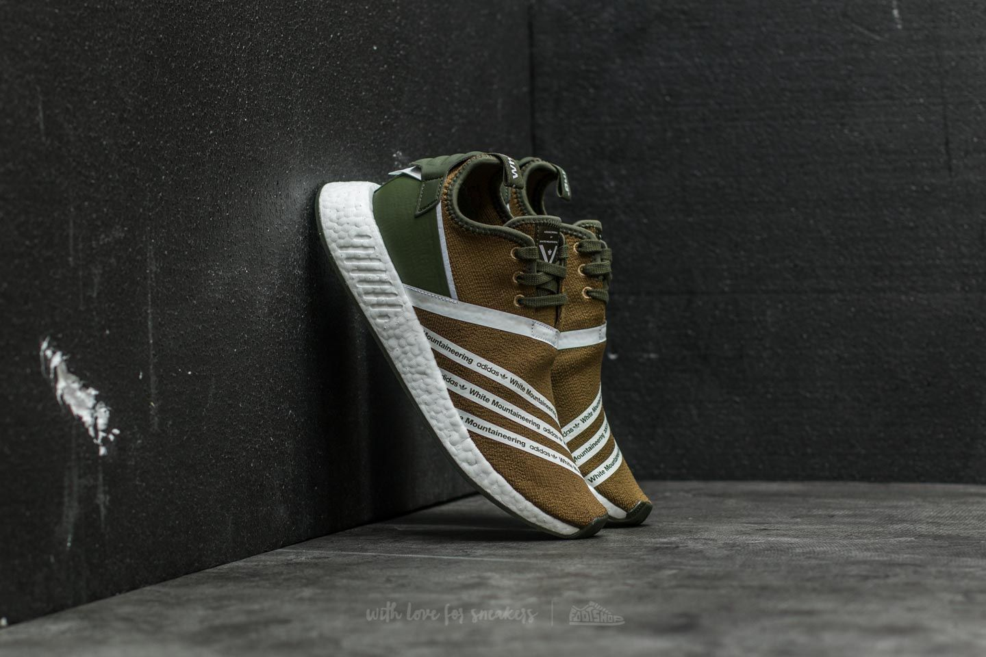 df8887886 adidas x White Mountaineering NMD R2 Primeknit. Trace Olive  Ftw White