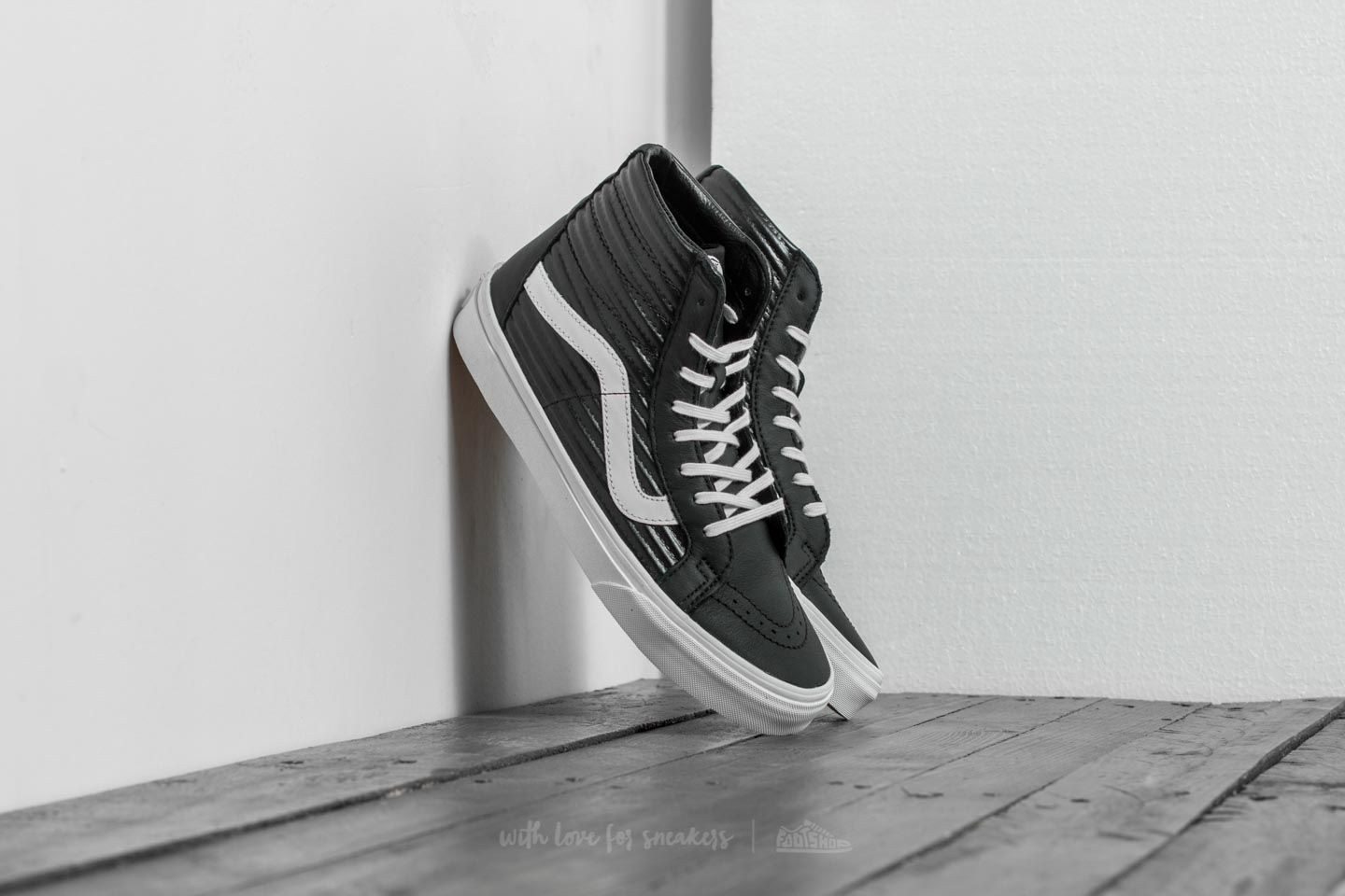 49b90476c47d Vans SK8-Hi Reissue (Moto Leather) Black/ Blanc de Blanc | Footshop