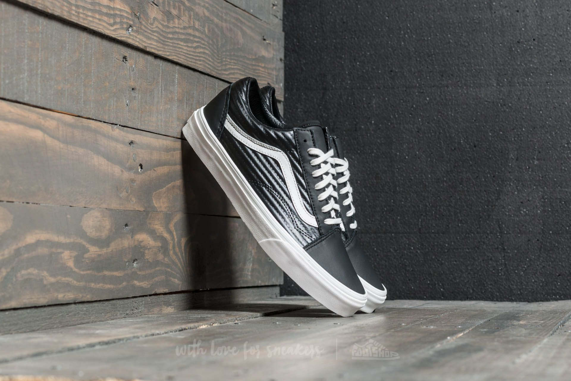Vans Old Skool (Moto Leather) Black Blanc de Blanc | Footshop