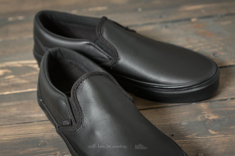 vans classic slip on black leather