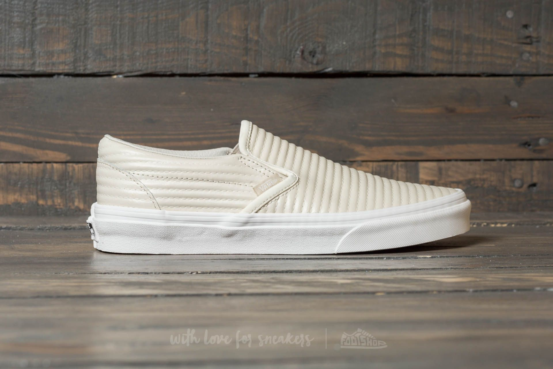 f0c8bf8655 Vans Classic Slip-On (Moto Leather) Birch  Blanc De Blanc at a
