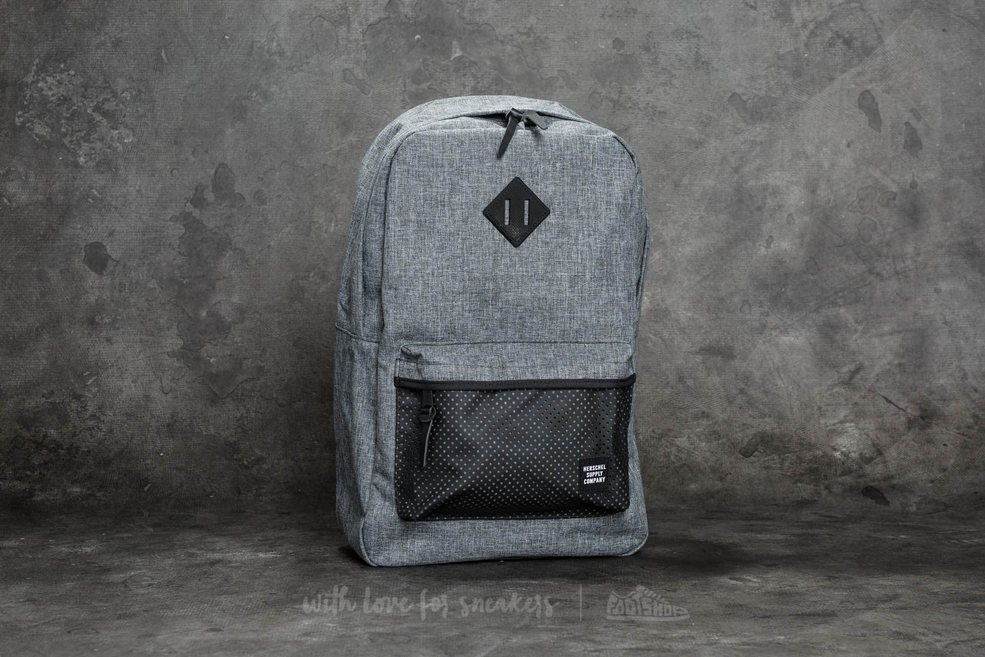 7ac1f6fbbd4 Herschel Supply Co. Heritage Backpack. Raven Crosshatch  Black Rubber