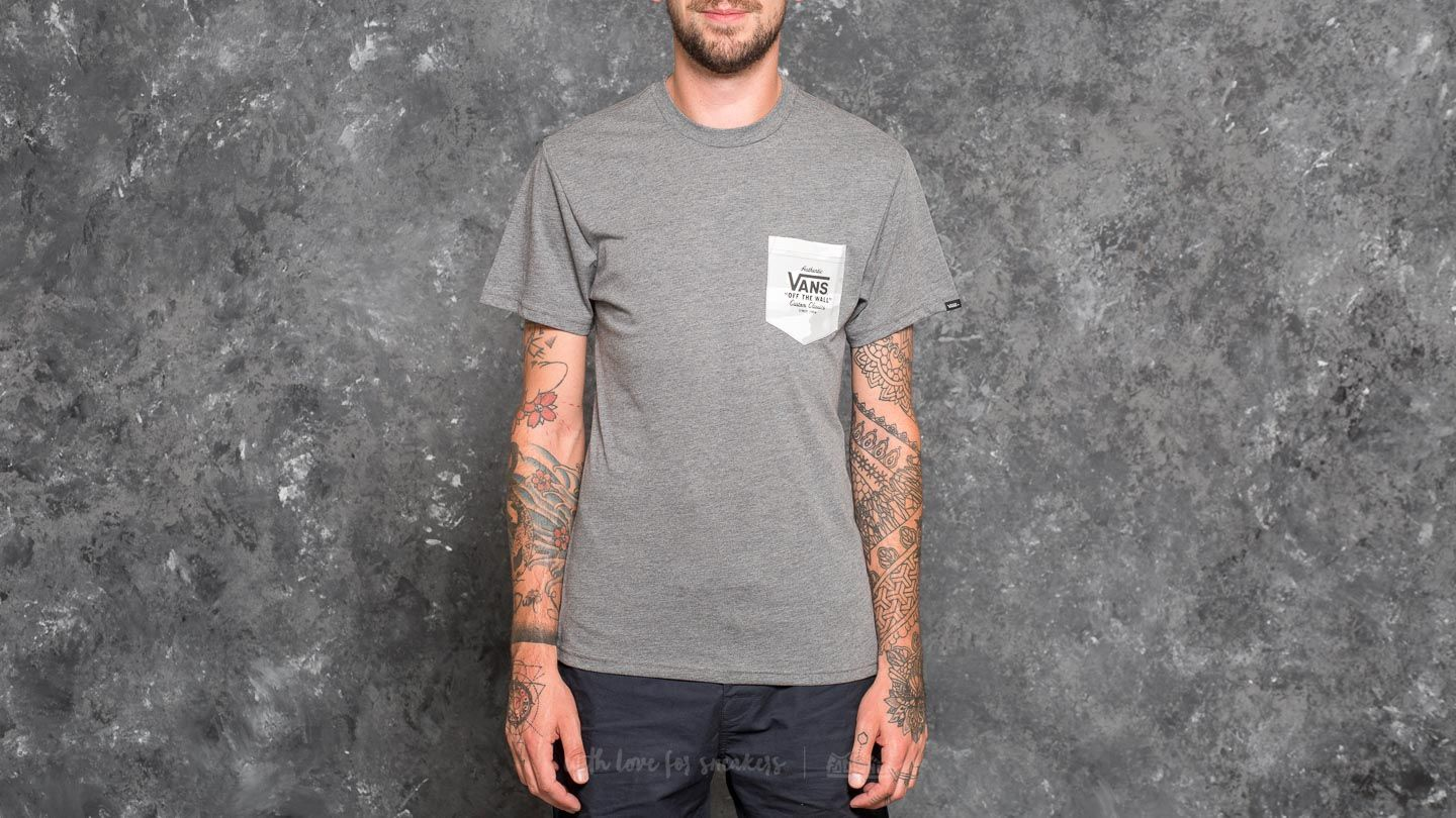a38bdf87737e15 Vans Print Box Pocket Tee Heather Grey-White Camo