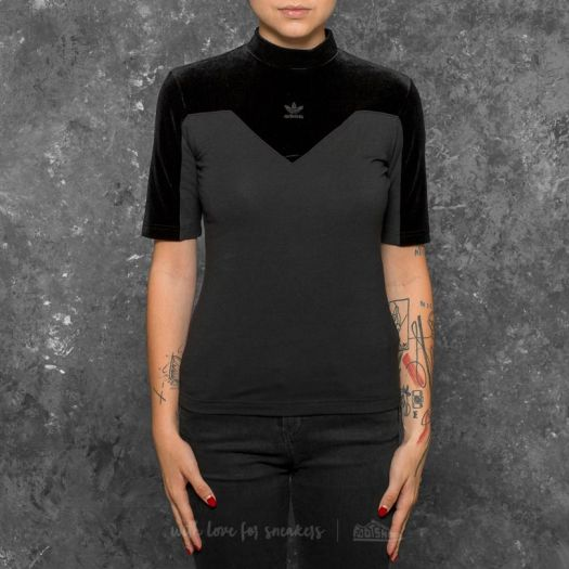 adidas Velvet Vibes High Neck Tee Black | Footshop