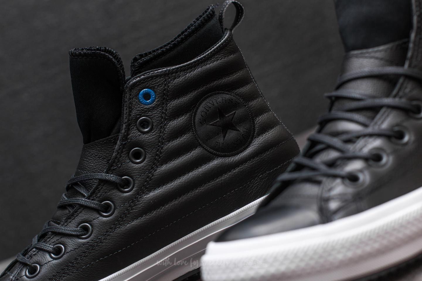 Converse Chuck Taylor Waterproof Boot Hi Quilted Leather Black White