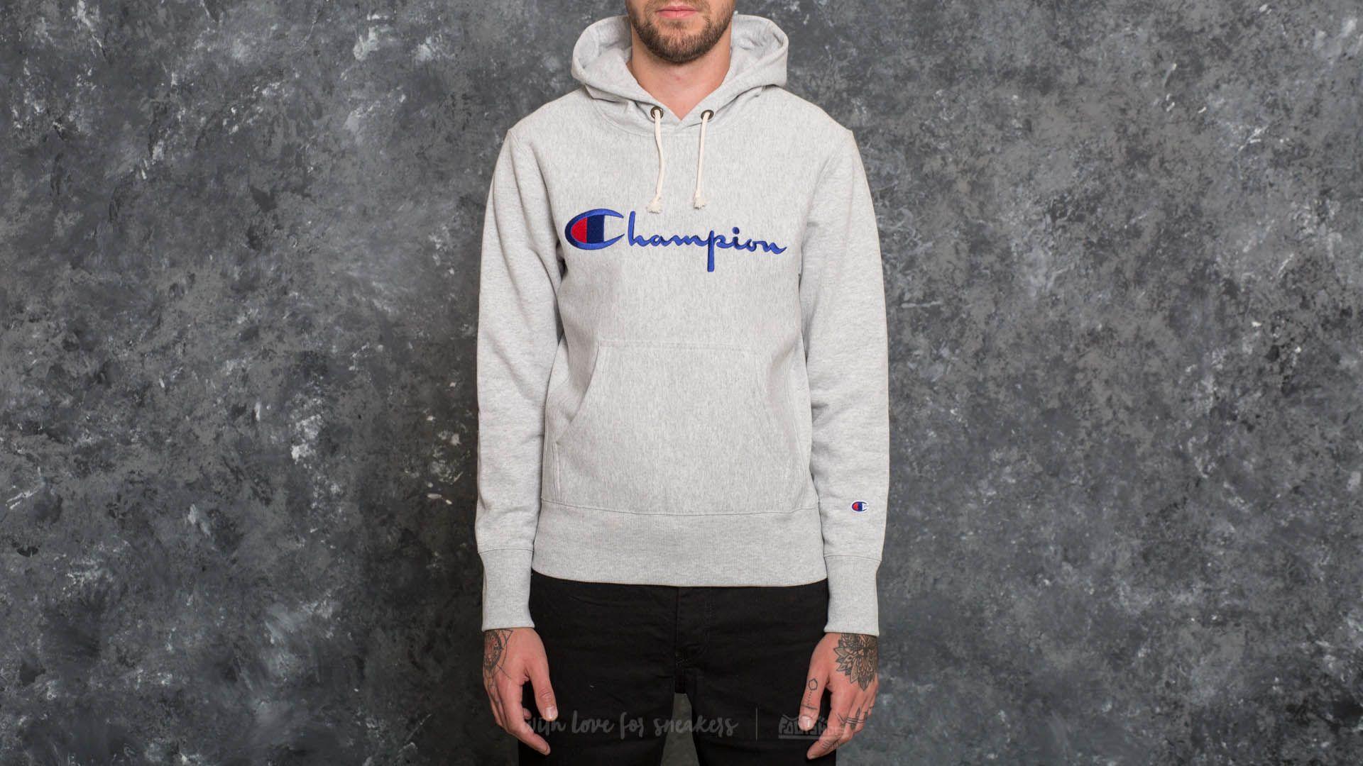 dcfeac8c5a0c Champion Hooded Sweatshirt Light Oxford Grey