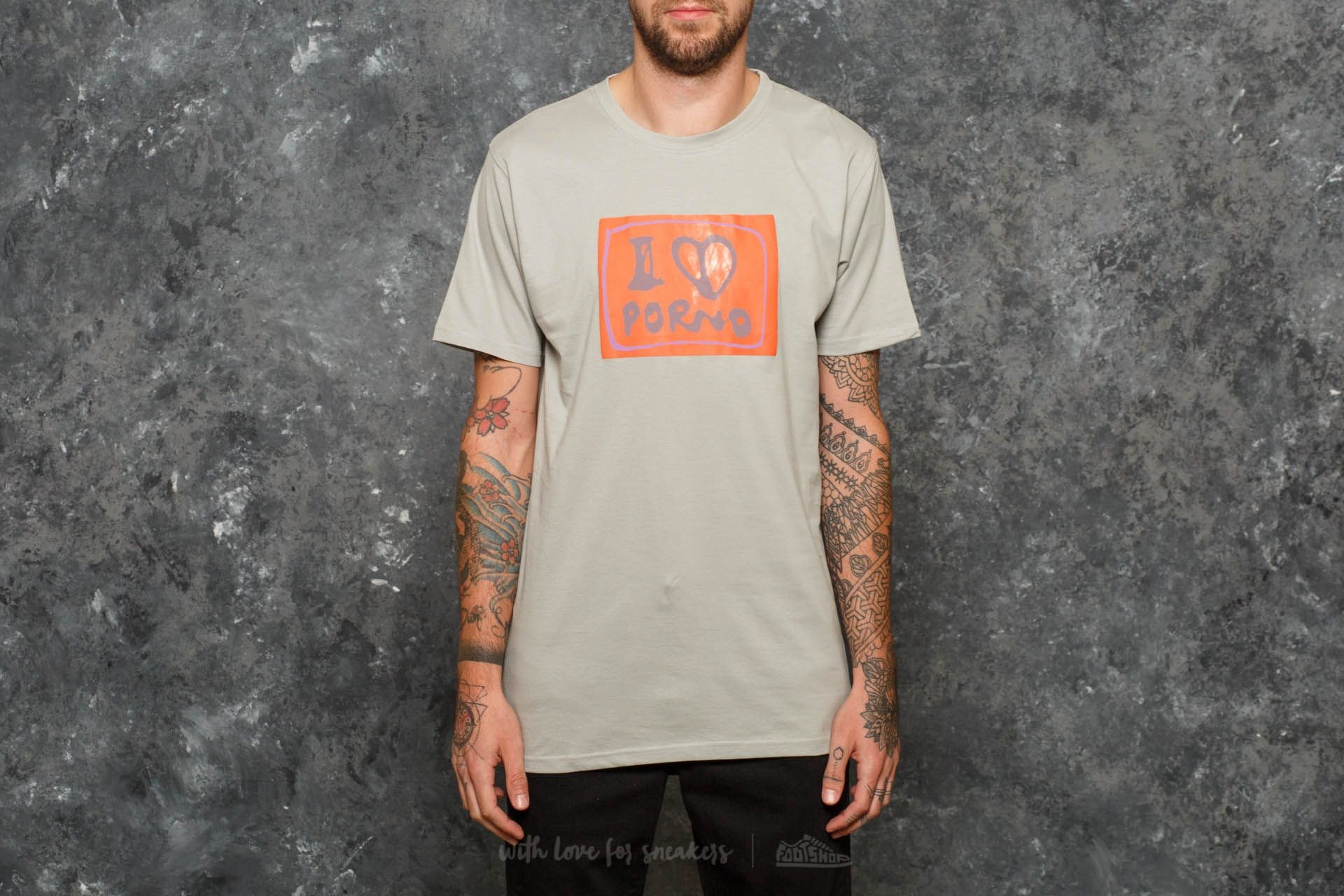 Life Is Porno Amsterdam Sticker Collection Tee Grey