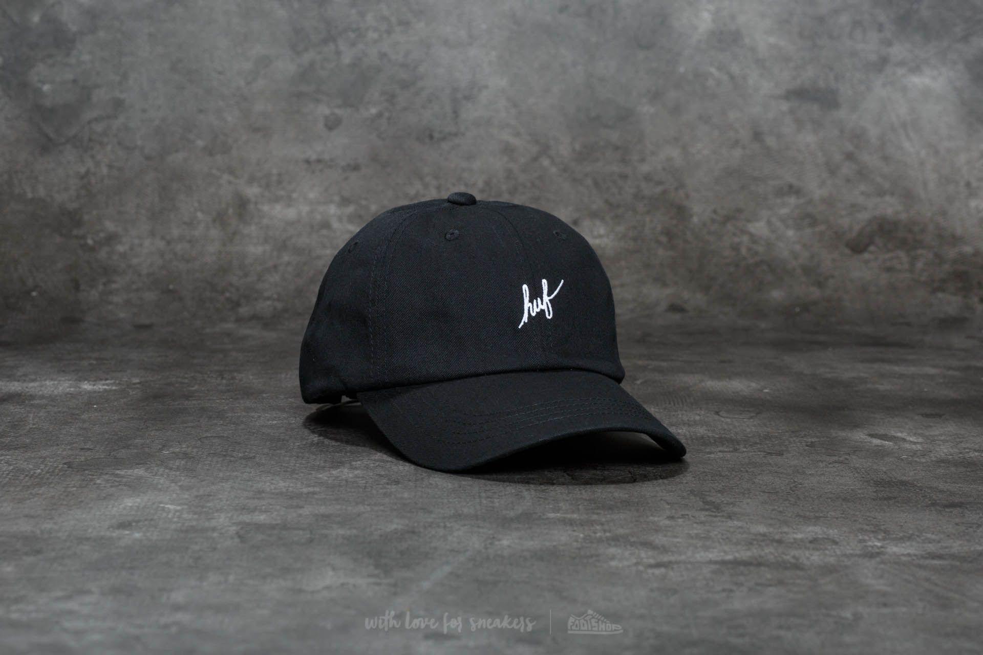6b079941800 HUF Script Logo Curve Brim Cap Black  White