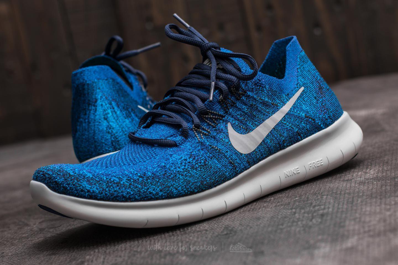 Nike Free Run Flyknit 2017 Deep Royal Blue Wolf Grey | Footshop