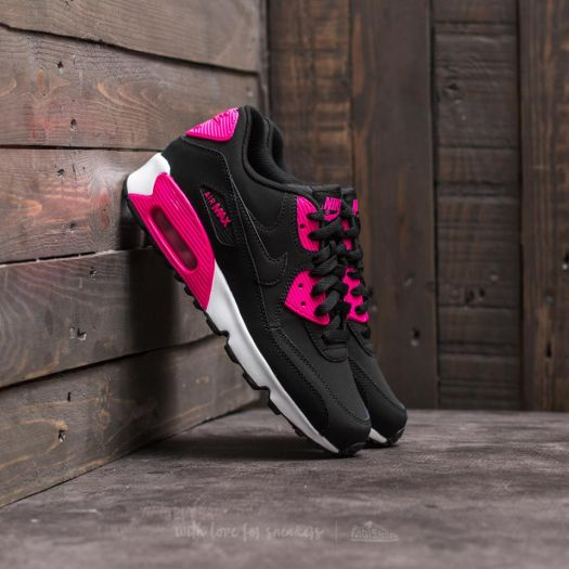 Nike Air Max 90 Leather (GS) Black Pink Prime White | Footshop