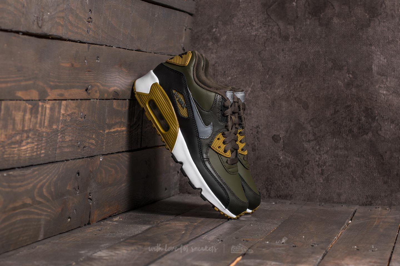 Nike Air Max 90 Leather (GS) Cargo Khaki Cool Grey Black | Footshop