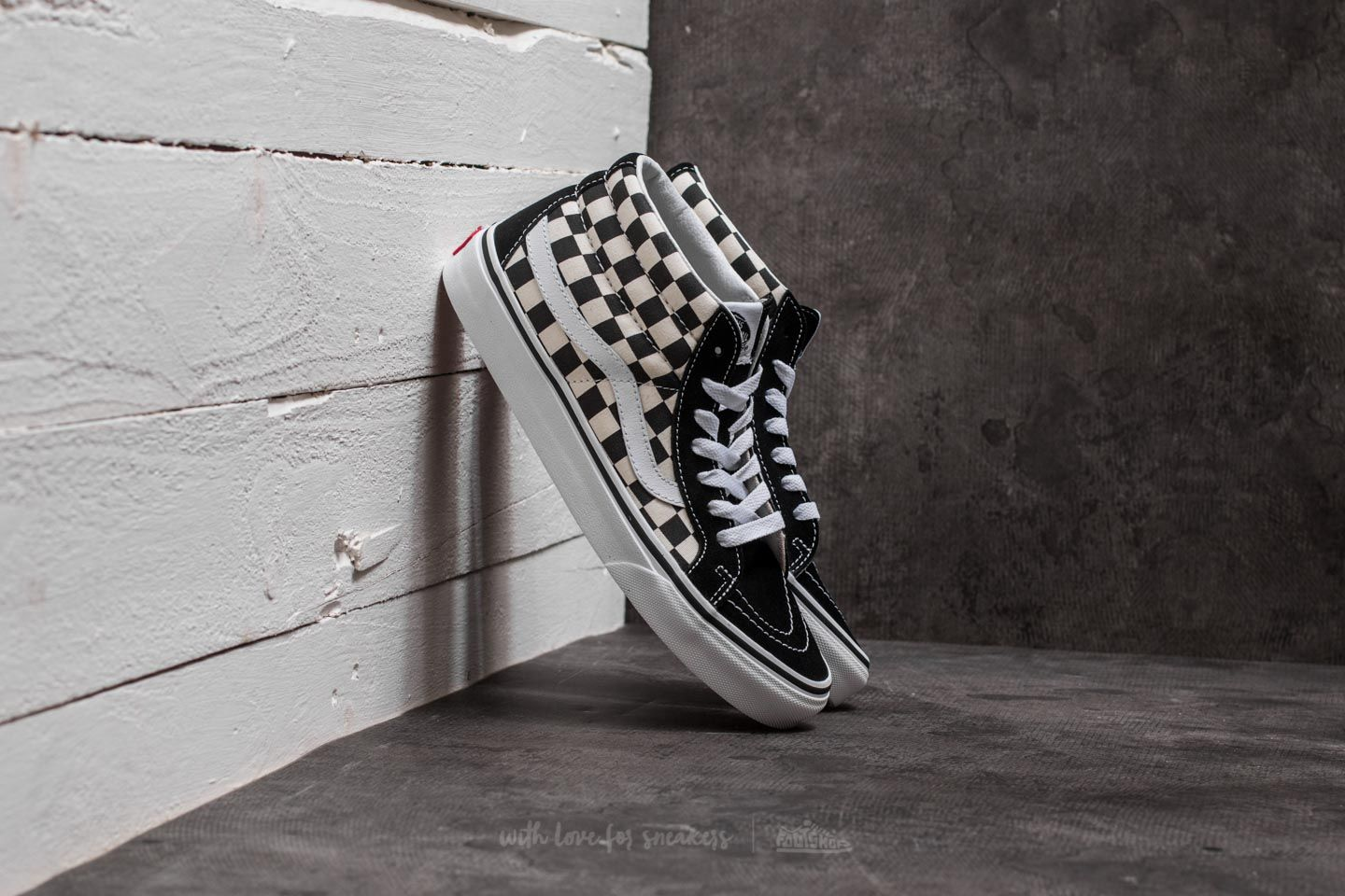 66397ebc65 Vans Sk8-Mid Reissue Checkerboard  True White