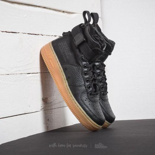 Nike SF AF1 Mid BlackGum Light Brown | Mens Black Nike Air Force 1