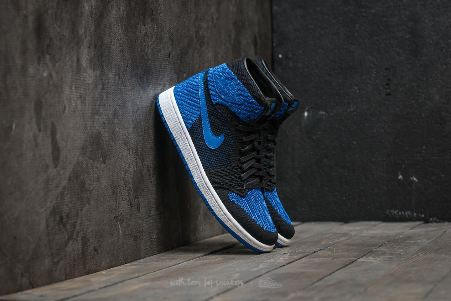 68ef3e54aebd69 Air Jordan 1 Retro Hi Flyknit BG Black  Game Royal-White