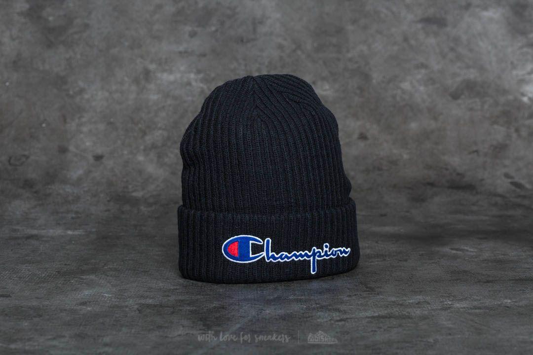 Champion Logo Beanie Cap Black  09878536a09
