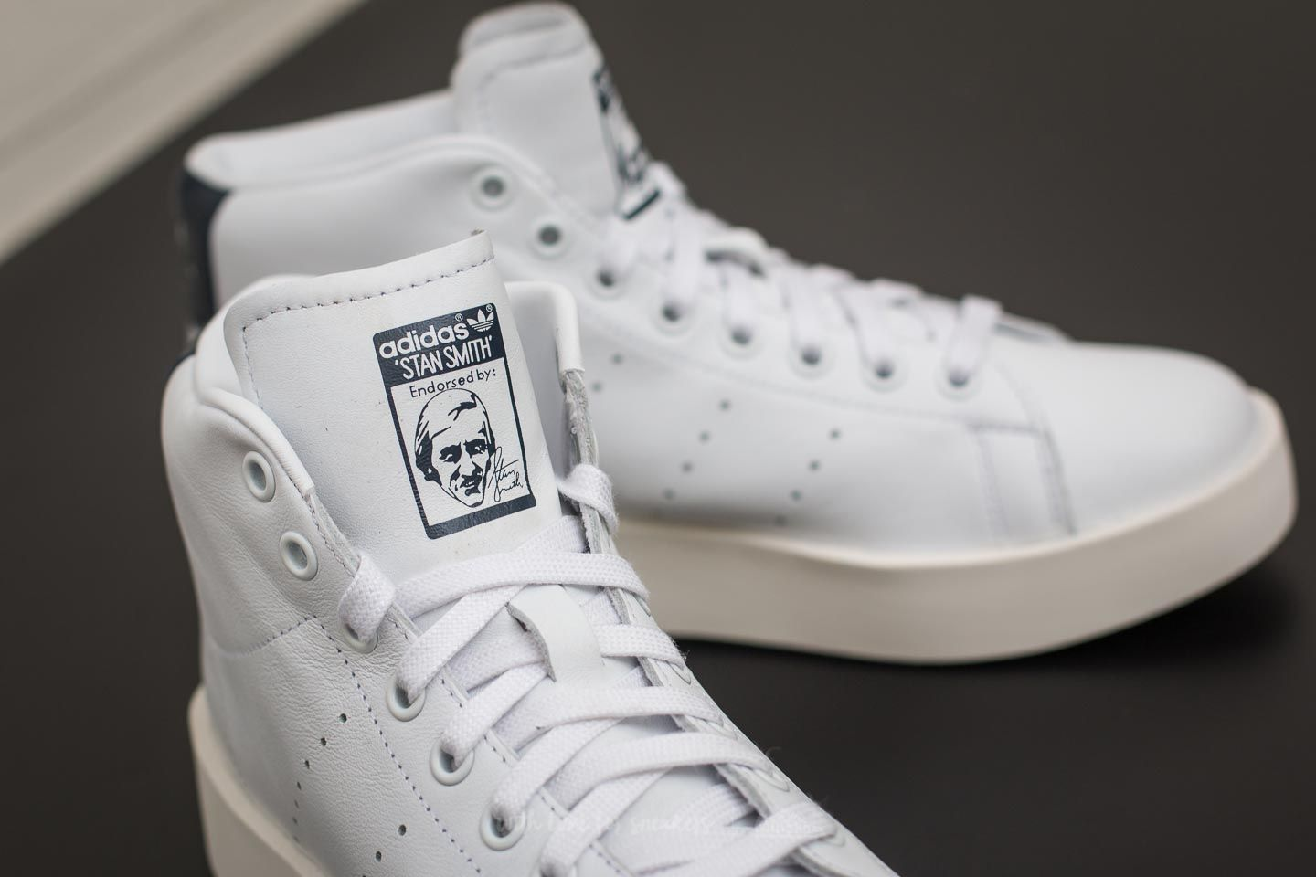 adidas Stan Smith Bold mid W Ftw White Ftw White Core Navy | Footshop
