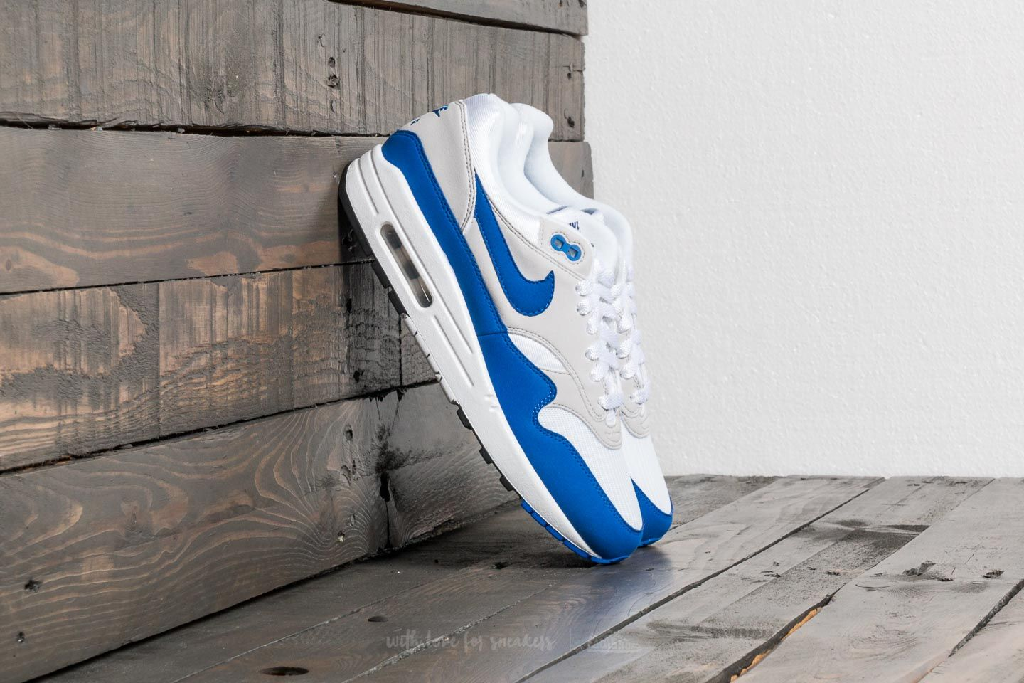 finest selection cb7ee eb39b Nike Air Max 1 Anniversary. White  Game Royal-Neutral Grey-Black