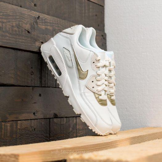 Nike Air Max 90 Leather (GS) Summit White Metallic Gold