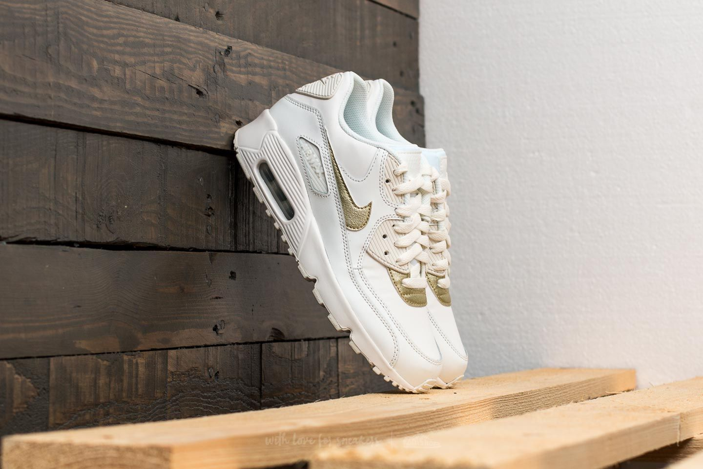3f3e081802 Nike Air Max 90 Leather (GS) Summit White/ Metallic Gold Star ...