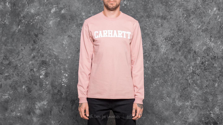 34737e21 Carhartt WIP Longsleeve College T-Shirt Soft Rose/ White | Footshop