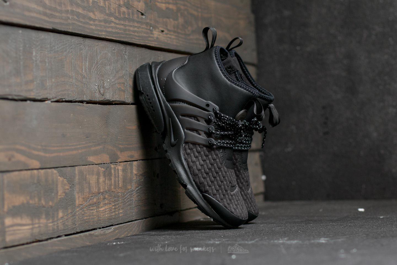 online store 9ec86 12129 Nike Air Presto Mid Utility Premium Black  Black-White