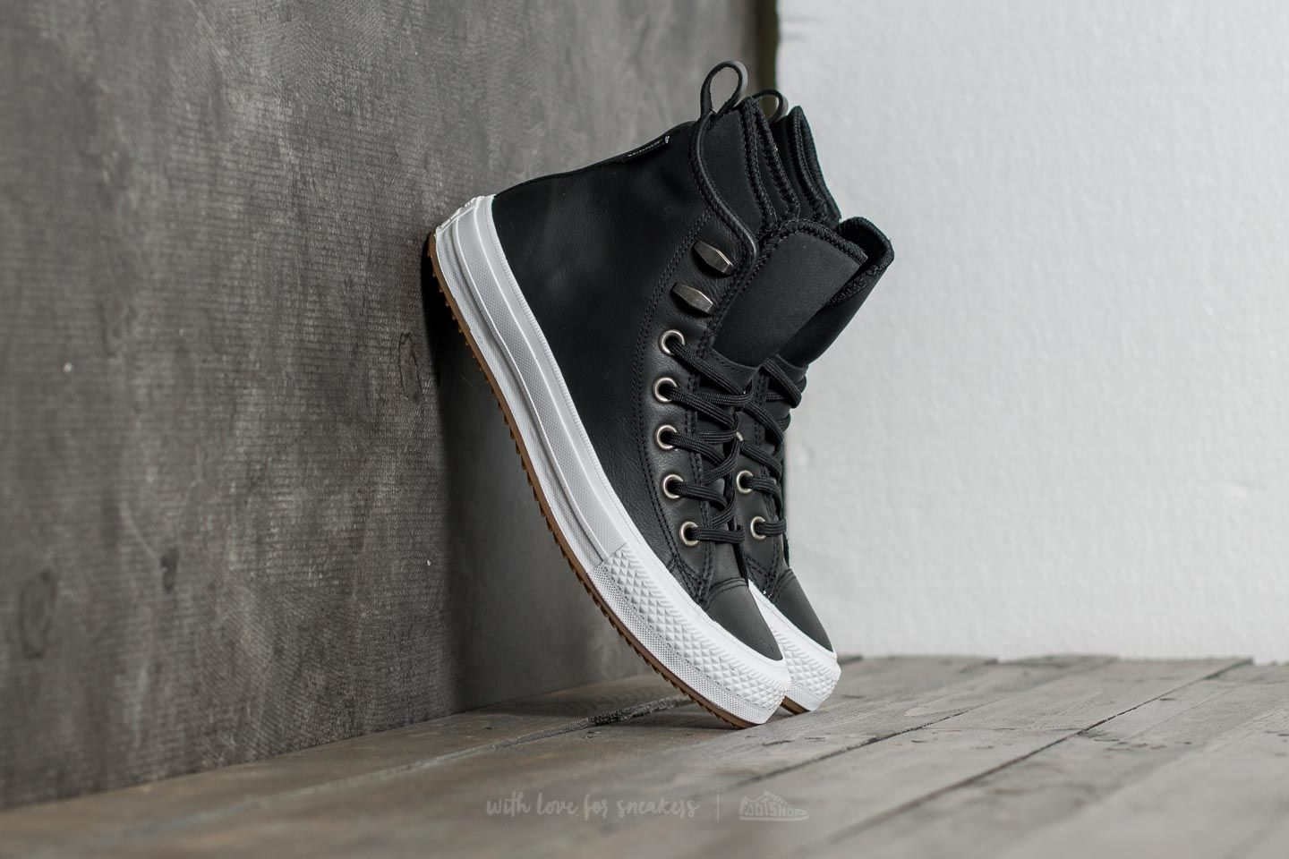 7c5ea3363383 Converse Chuck Taylor All Star Waterproof Boot Hi Black  Black  White at a  great