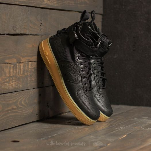 Nike W SF Air Force 1 Mid Black Black Gum Light Brown | Footshop