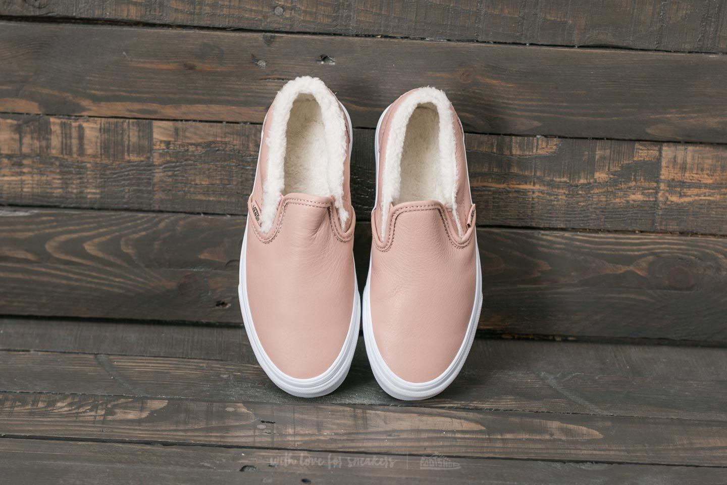 Vans Classic Slip On (Leather) Mahogany Rose True White | Footshop