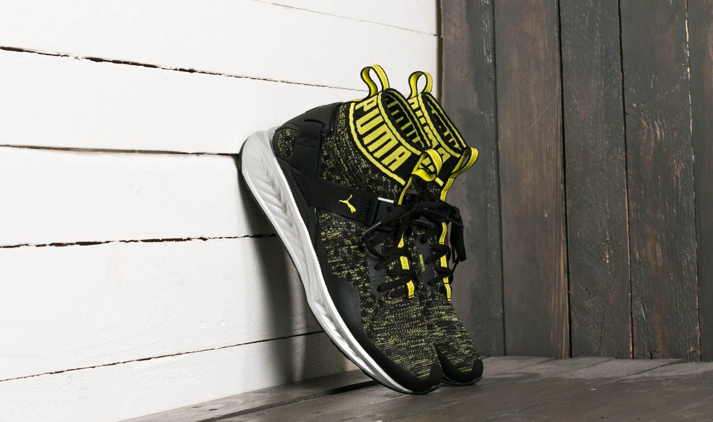 417c54fe662a Puma Ignite evoKnit NC Black  Quite Shade  Yellow