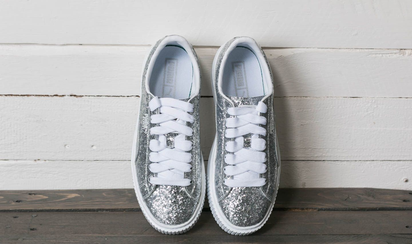 Puma Basket Platform Glitter Wn s Silver-Silver at a great price £105 buy at 8befb487f