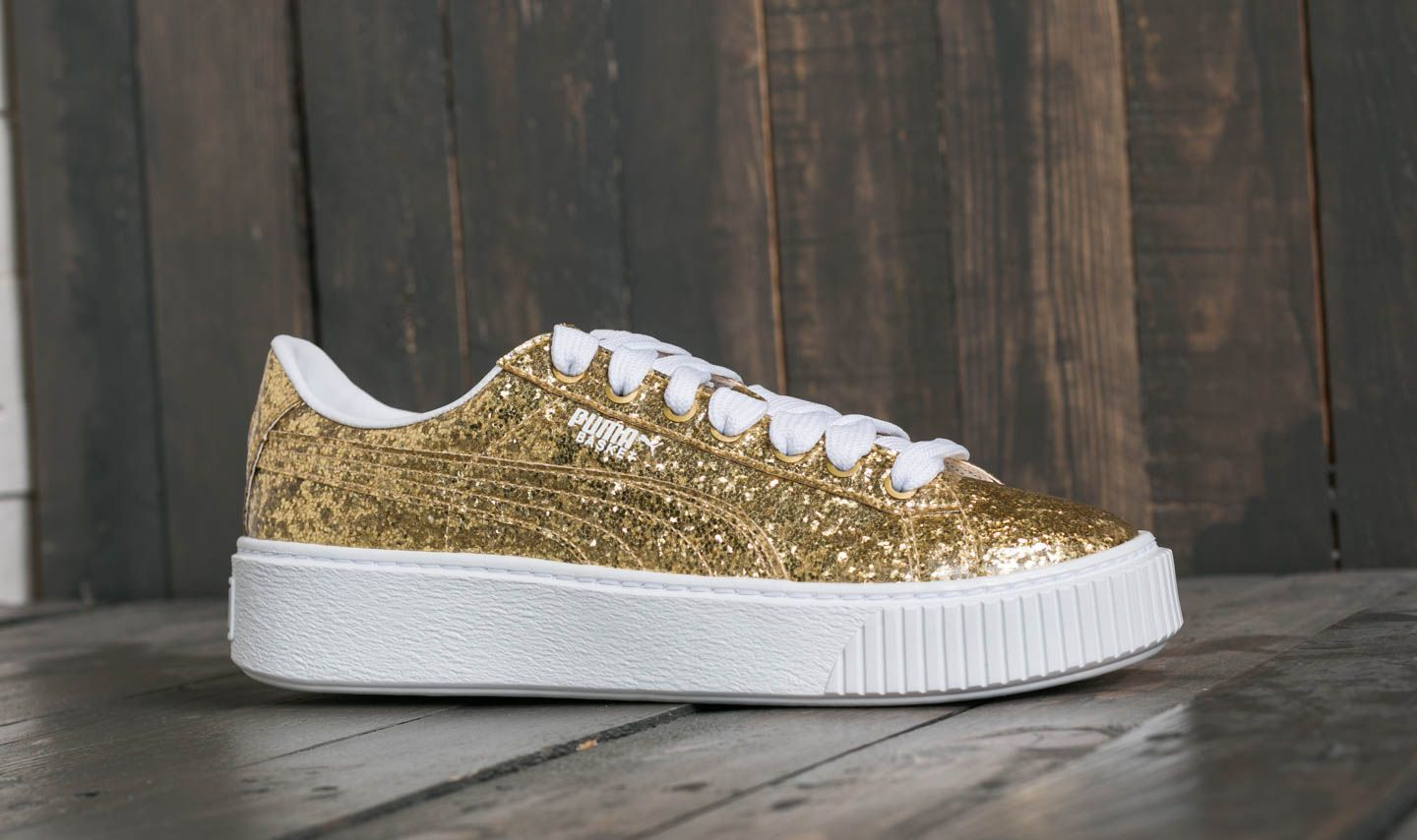 0e0039a1fe877e Puma Basket Platform Glitter Wn s Gold-Gold at a great price 88 € buy at