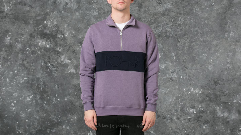 Polar Block Zip Sweatshirt Lilac/ Navy