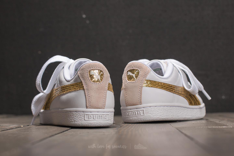 new product e1492 eb6e2 Puma Basket Heart Glitter Wn's Puma White/ Gold | Footshop