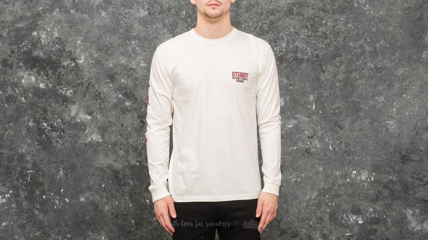6e92400026a17 Stüssy Skull   Roses Pigment Dyed Long Sleeve Tee Natural