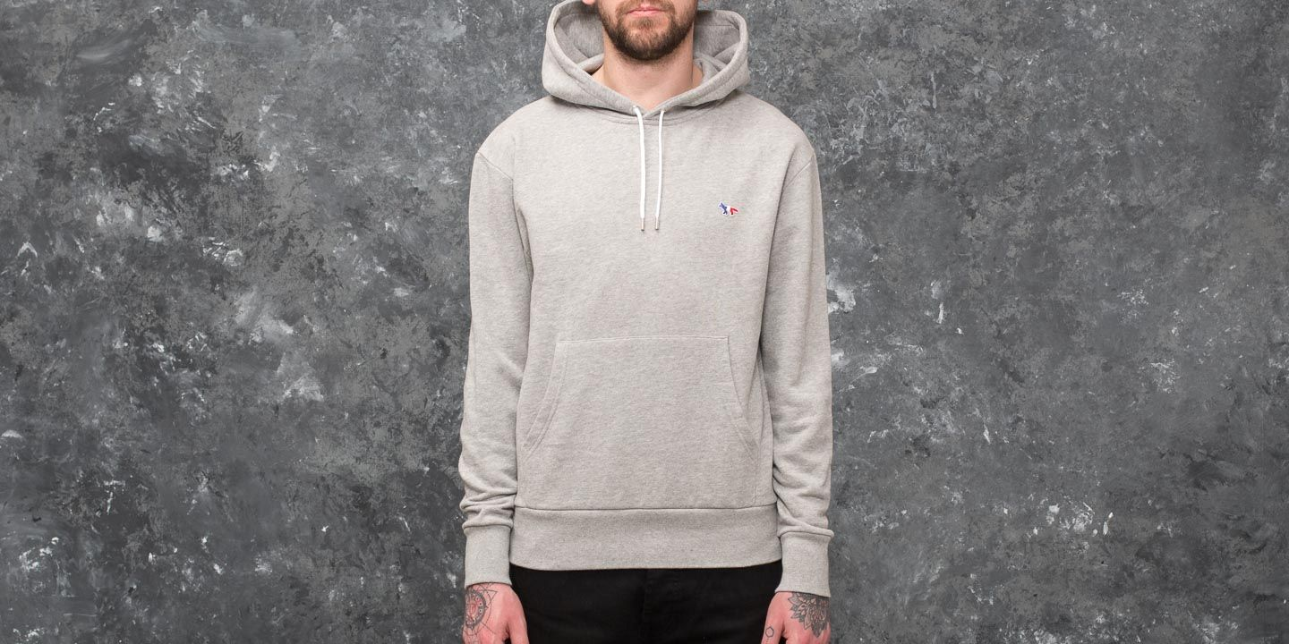 MAISON KITSUNÉ Tricolor Fox Patch Hoodie Grey Melange