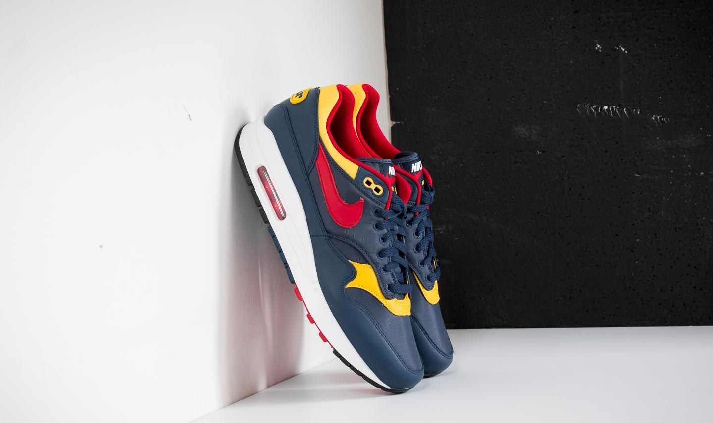 new products 569bb f9908 Nike Air Max 1 Premium. Navy  Gym Red-Vivid Sulfur