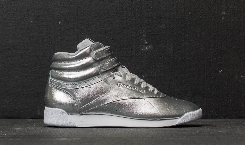 b96ab4d99201ec Reebok Freestyle Hi Metallic Silver Metallic  Steel  White at a great price  55 €