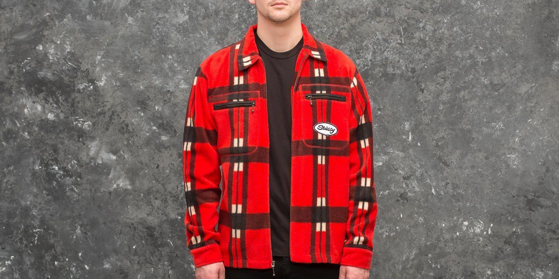Stüssy Polar Fleece Zip Up Shirt Red