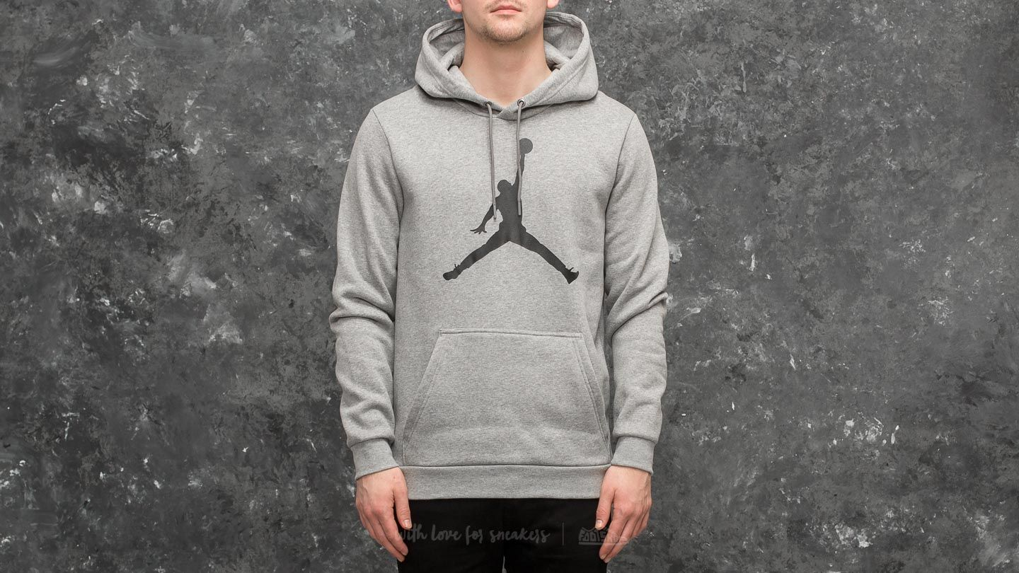 60b54838af0 Jordan Flight Fleece Jumpman Air Pullover Hoodie Grey | Footshop