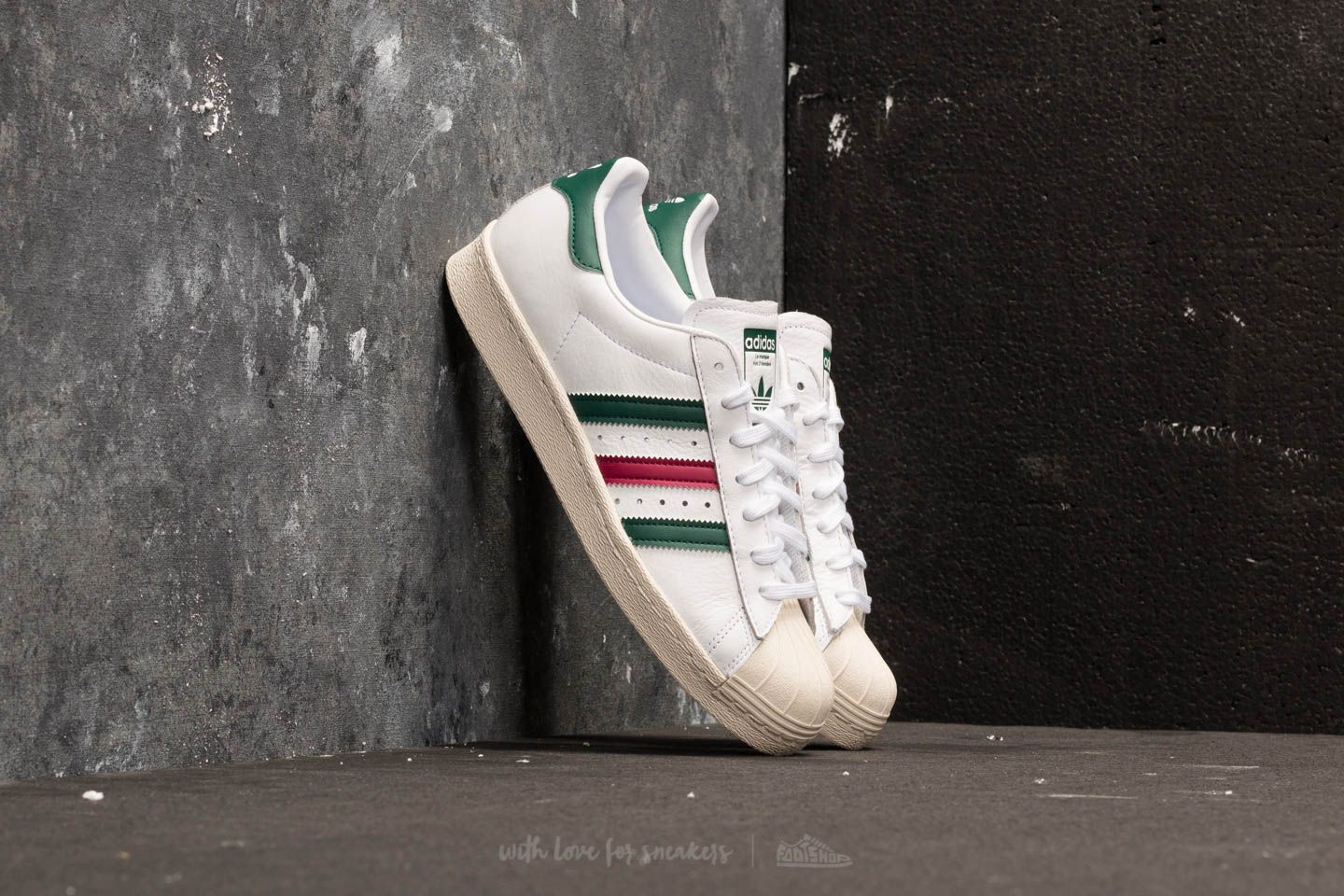 on sale e7b8b 48db6 adidas Superstar 80s. Ftw White  Collegiate Green  Mystery Ruby